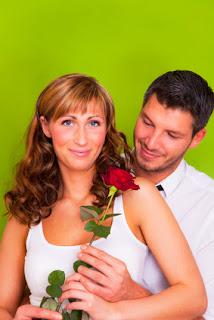Hochzeitstag, Paar mit Rose, Romantik