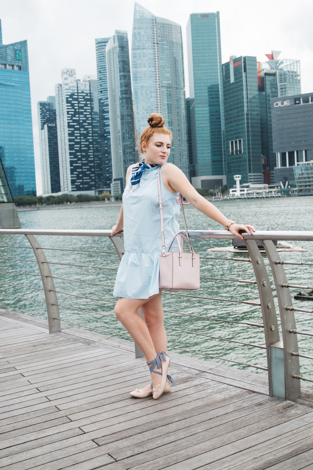 Blue Dress and Neck Tie in Singapore | Global Fashion Gal Blog