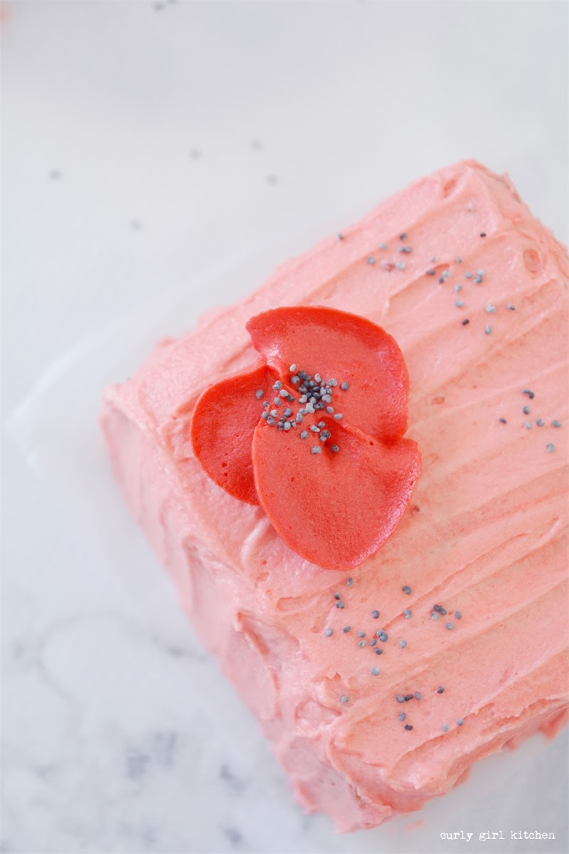 Mini Cakes, Almond Poppyseed Cake with Strawberry Buttercream, Buttercream Poppies, Mini Pink Cakes