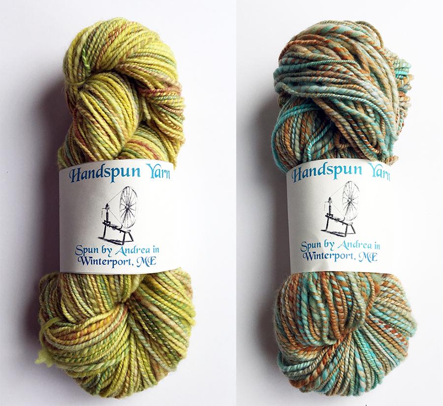 Handspun yarn by Andrea of Winterport, ME, Dayana Knits blog