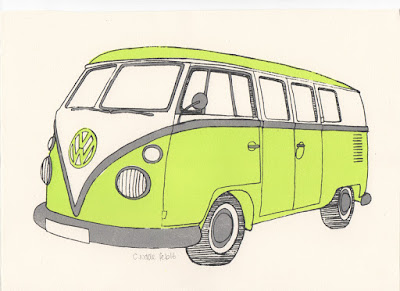 Screenprint of Volkswagen T1 Split Screen Camper Van Micro Bus