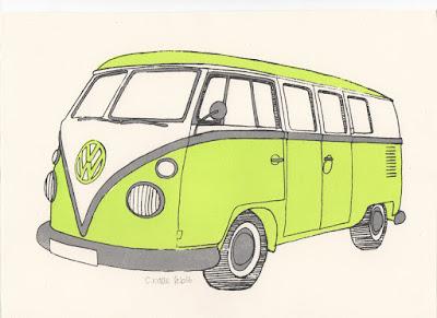 Screenprint of Volkswagen T1 Split Screen Camper Van Micro Bus
