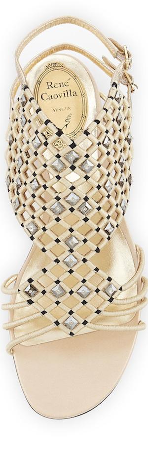 Rene Caovilla Crystal Caged Flat Sandal
