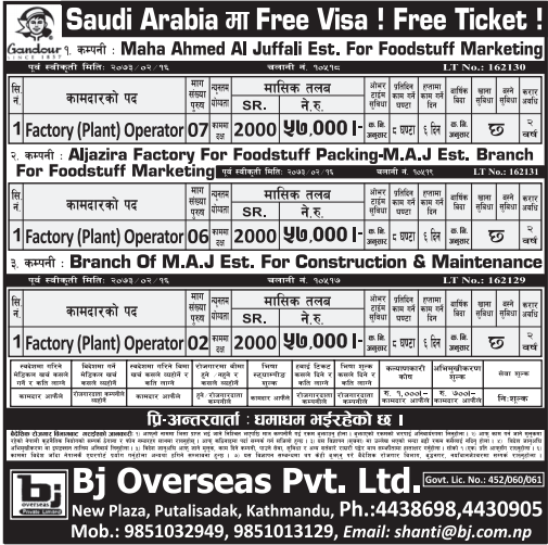 Free Visa, Free Ticket,Jobs For Nepali In Saudi Arabia, Salary -Rs.57,000/