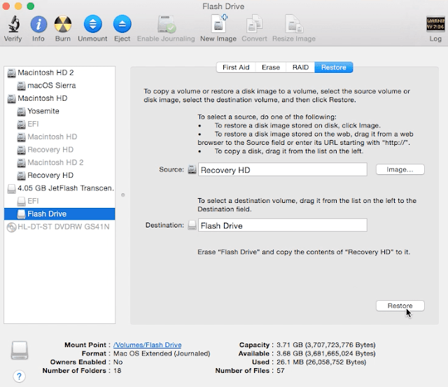 Creating Recovery USB drive using Disk Utility