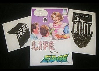 "Prototype promotional artwork sketches for the mysteriously lost ""cult comedy"" LIFE ON THE EDGE (1992)"