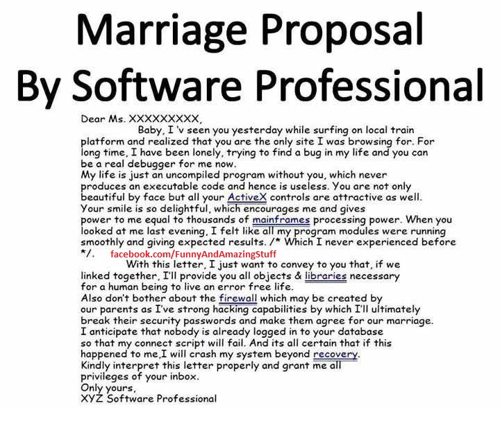 Funny Marriage Proposal By Software Engineer