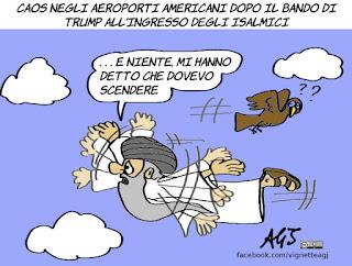 trump, islamici, musulmani, trumpban, muslimban, america first, aeroporti, vignetta, satira