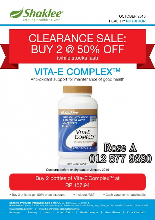 Shaklee Clearance Sales : Vitamin E Buy 1 Free 1!!! ~ Rose Azadir