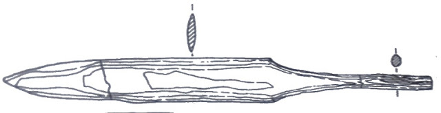 Miecz tkacki z Jeziora Lednickiego - rycina