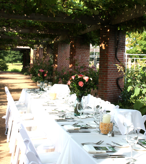 Lovely table setting in the Fruit and Vegetable Garden at the Chicago Botanic Garden
