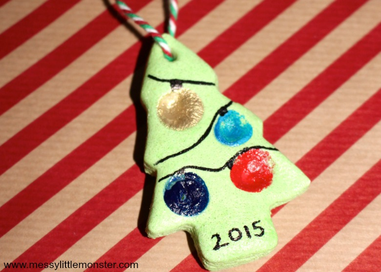 Salt dough fingerprint ornament, gift tag or keepsake. Christmas tree craft for kids