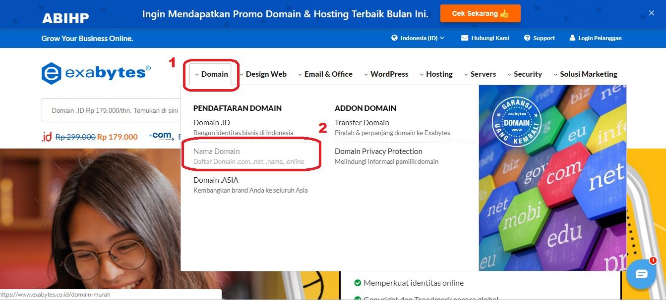 Cara membeli domain di exabytes.