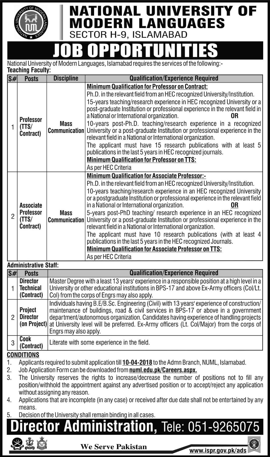 Jobs In NUML Islamabad 2018 National University Of Modern Languages