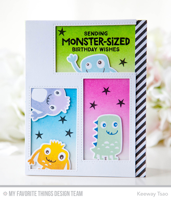 Handmade card from Keeway Tsao featuring  Monster Love stamp set and Die-namics, and Inside & Out Stitched Rectangle STAX Die-namics #mftstamps