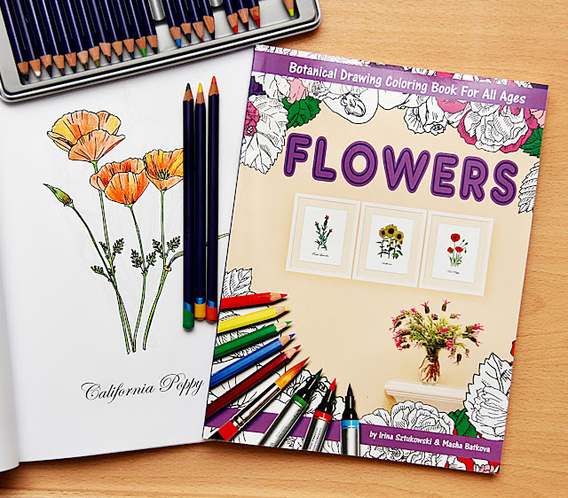 Book with botanical drawings for coloring