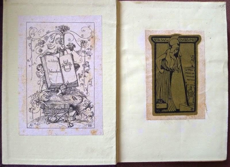 Buch mit den Exlibris von Otto Wesendonck (li.) und Friedrich Wilhelm von Bissing