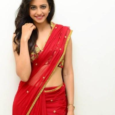 Gorgeous Looking Rakul Preet Singh in Transparent Red Saree ❤ *  ❤