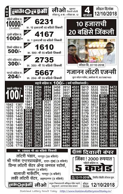 Labh Laxmi Lottery-12-10-2018