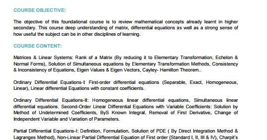 RGPV MATHEMATICS- II Syllabus CBCS for 1st year 1 Sem and