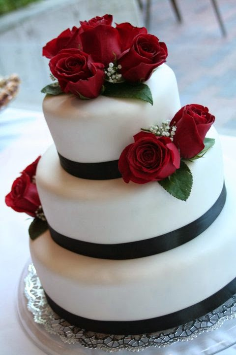 2 Tier Red Wedding Cakes
