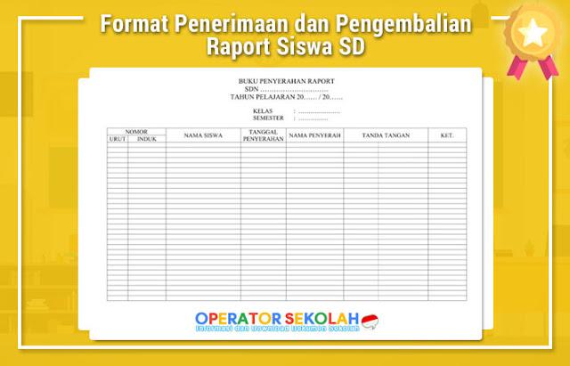 Format Penerimaan dan Pengembalian Raport Siswa SD