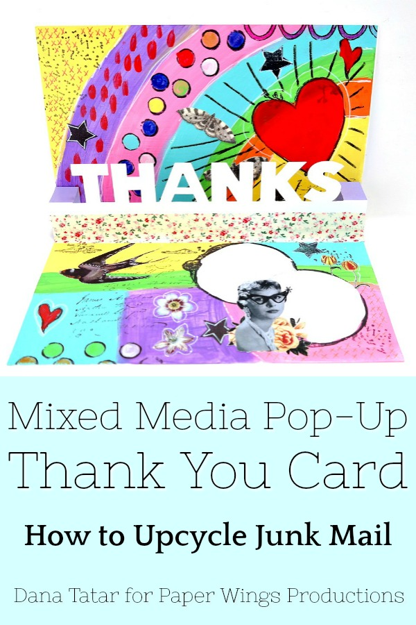 How to Upcycle Junk Mail to Create a Colorful Stamped and Collaged Pop Up Thank You Card Tutorial