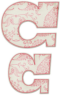 Abecedario con Decoración en Rojo. Red  Decorated Alphabet.