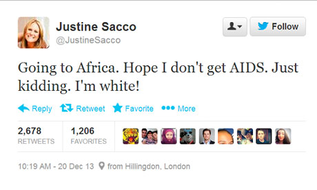 Justine Sacco posting about Africa gives people aids