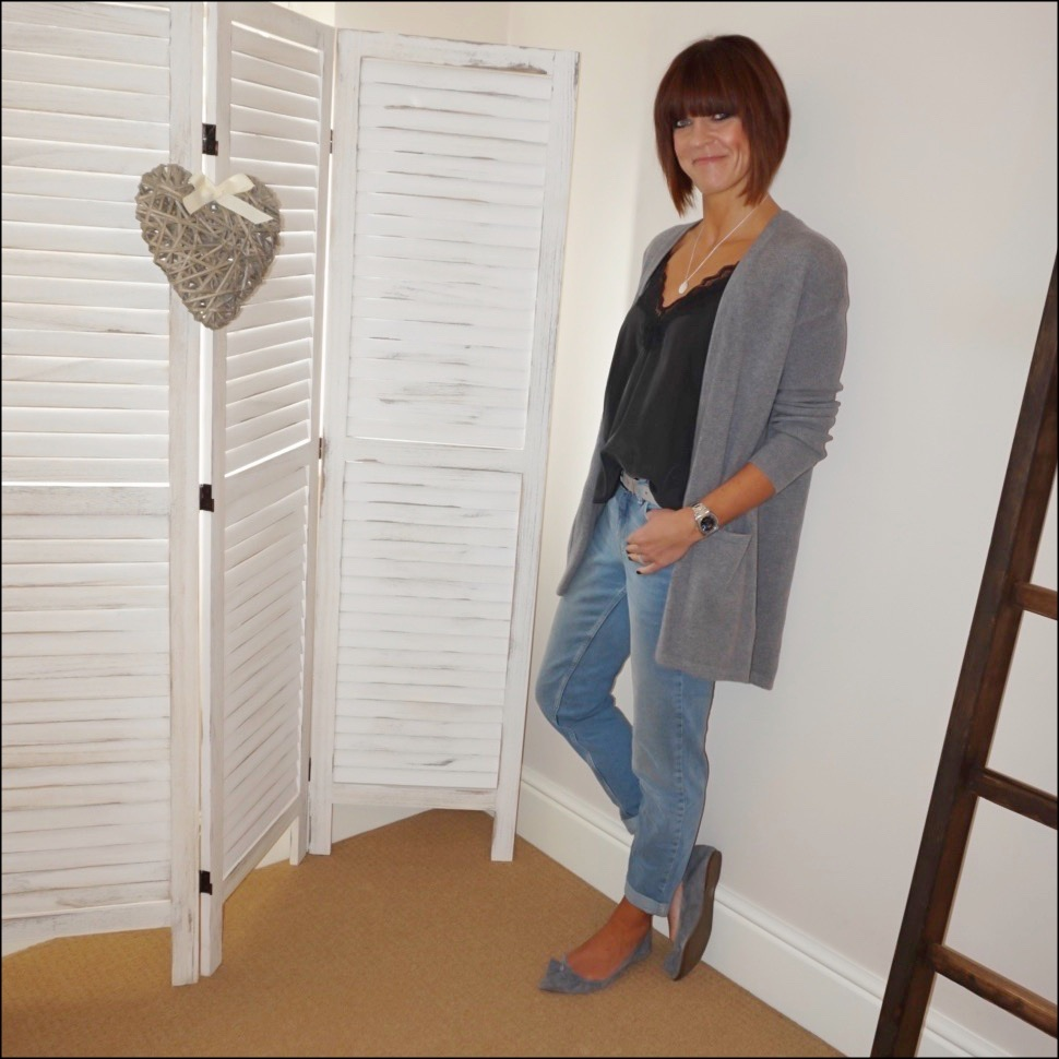 my midlife fashion, messages in metal silver monogram round personalised necklace, zara lace trim camisole, the white company brompton boyfriend jeans, j crew suede tassel pointed shoes, marks and spencer pure cashmere longline cardigan