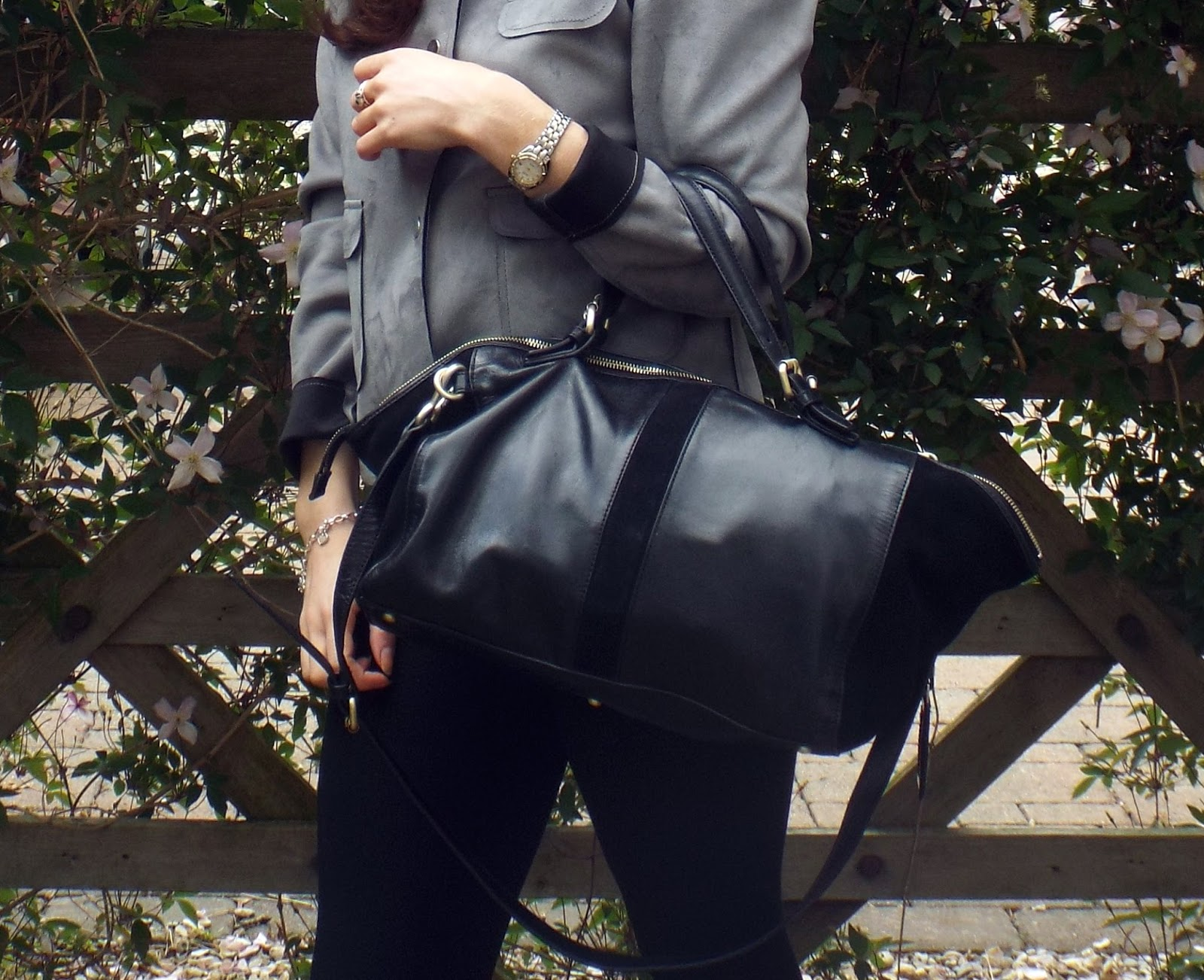 Calvin Klein black leather duffle bag