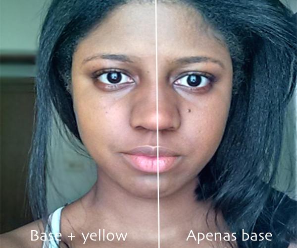Diferença no rosto: lado esquerdo (base + corretivo amarelo), lado direito (apenas base)
