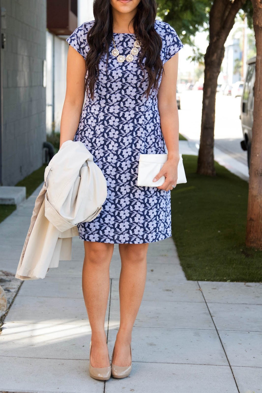 Blue Floral Dress + Statement Necklace + white clutch