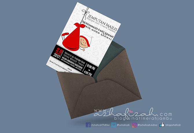 Tempahan Design Kad Jemputan Majlis Aqiqah Tema Merah