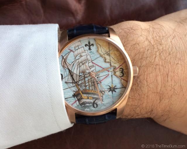 Ferretti Timepieces Amerigo maiolica watch wrist shot