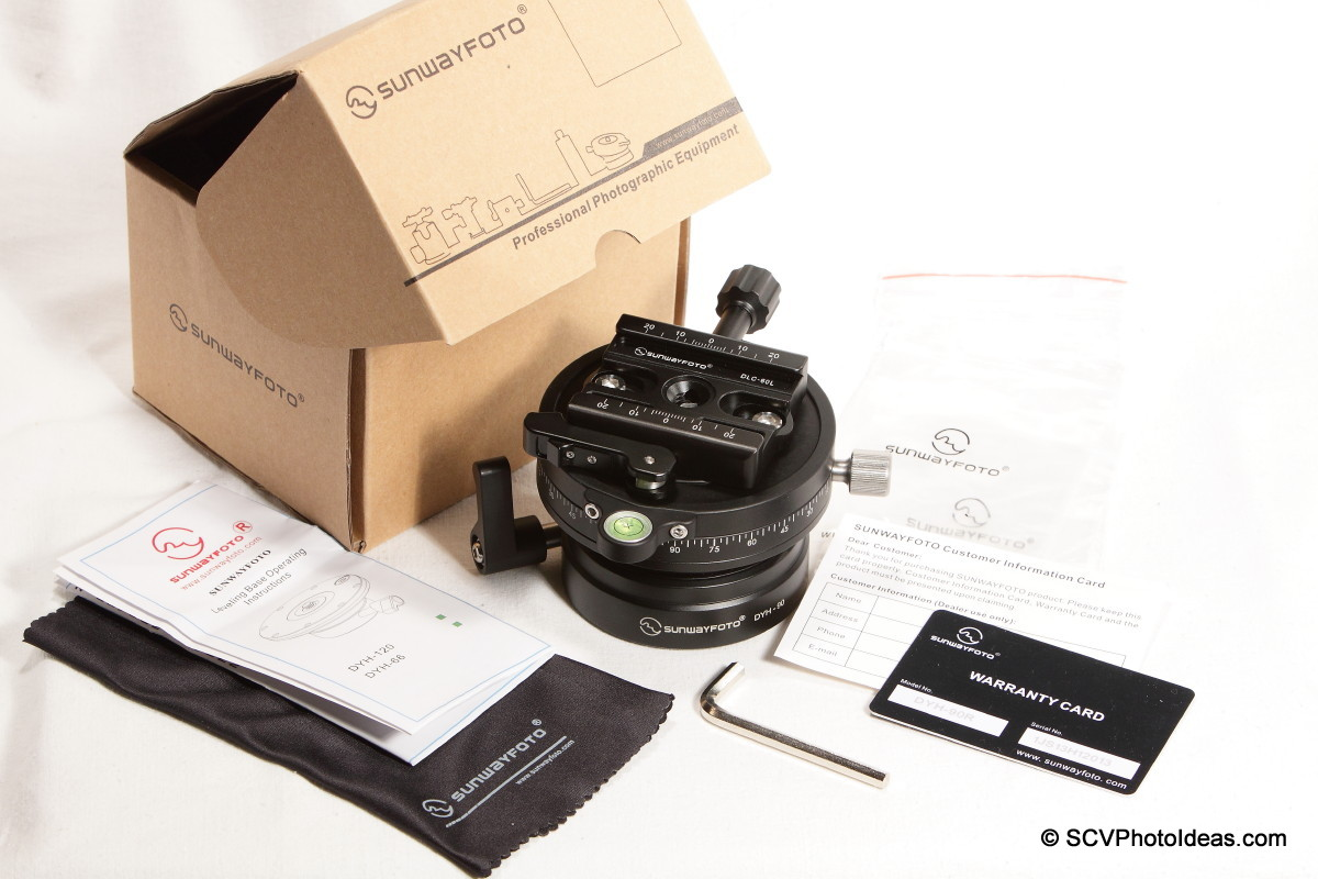 Sunwayfoto DYH-90R+DLC-60L Duo clamp combo box contents