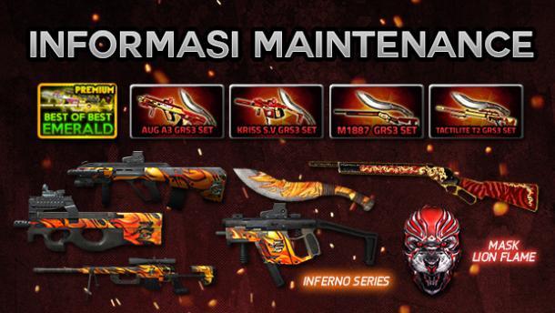PB Garena Indonesia Hadirkan Senjata Seri Inferno, M1887 LionHeart,Set GRS3 series, BOB Emerald Premium dan Berikan Quick Change Weapon Gratis