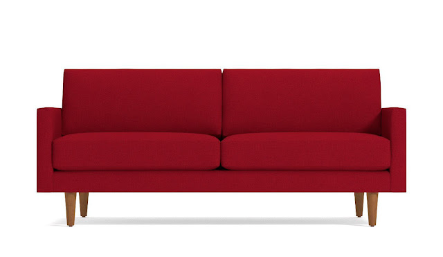 Red mid century modern love seat for small living rooms