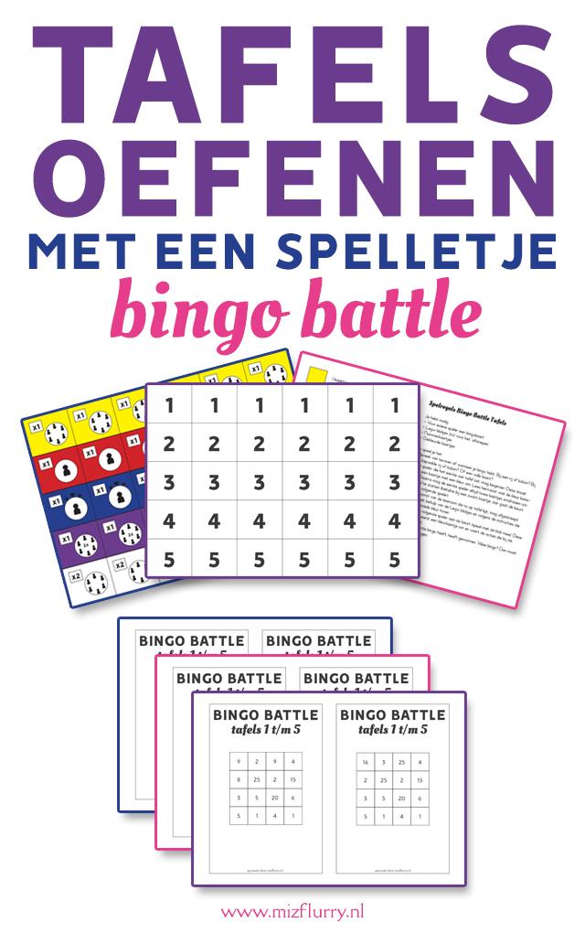 tafels oefenen spelletje bingo battle pinterest