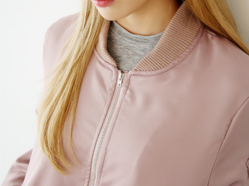 Zipper-Accented Sleeve Bomber Jacket
