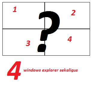 gambar q-dir freeware untuk menampilkan 4 windows explorer