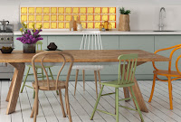 briques de verre Mini Collection gamme Vegan en décoration de cuisine