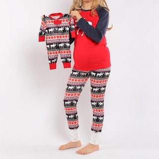 Reindeer Pattern Color Block Family Pajamas
