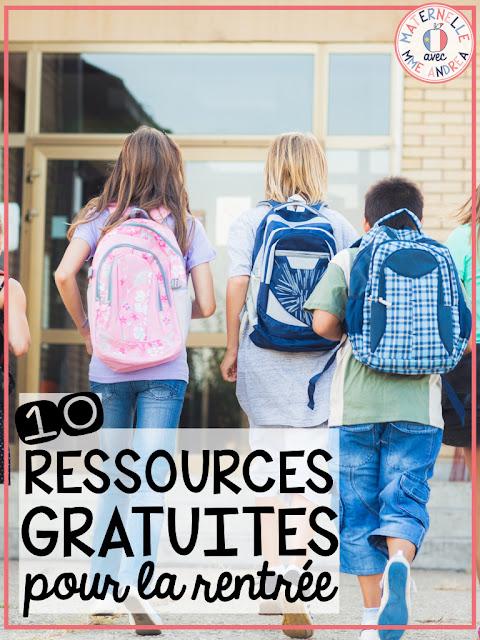 Looking for FREE back to school resources in French? Check out this blog post and find 10 ressources gratuites pour la rentrée! Parfait pour la maternelle ou la première année.
