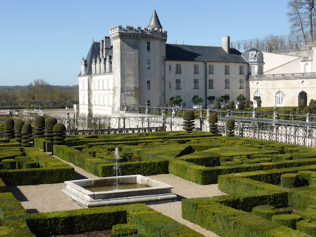 View of chateau at Villandry with hedges garden