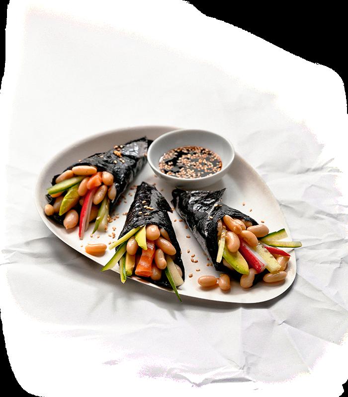 Maki sushi met bonen