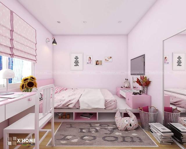 phòng ngủ màu hồng nhẹ