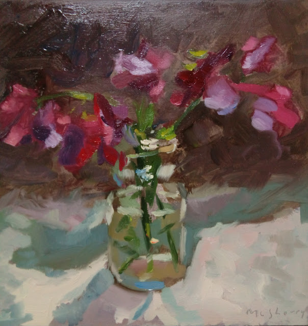 "Ophelia's Sweetpeas. Oils on panel. 7"" x 7"""