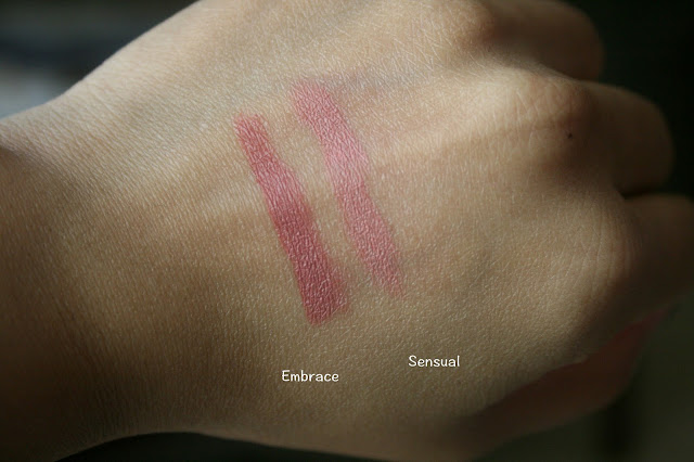 Laura Mercier Velour Lovers Lip Colors in Embrace and Sensual Swatches