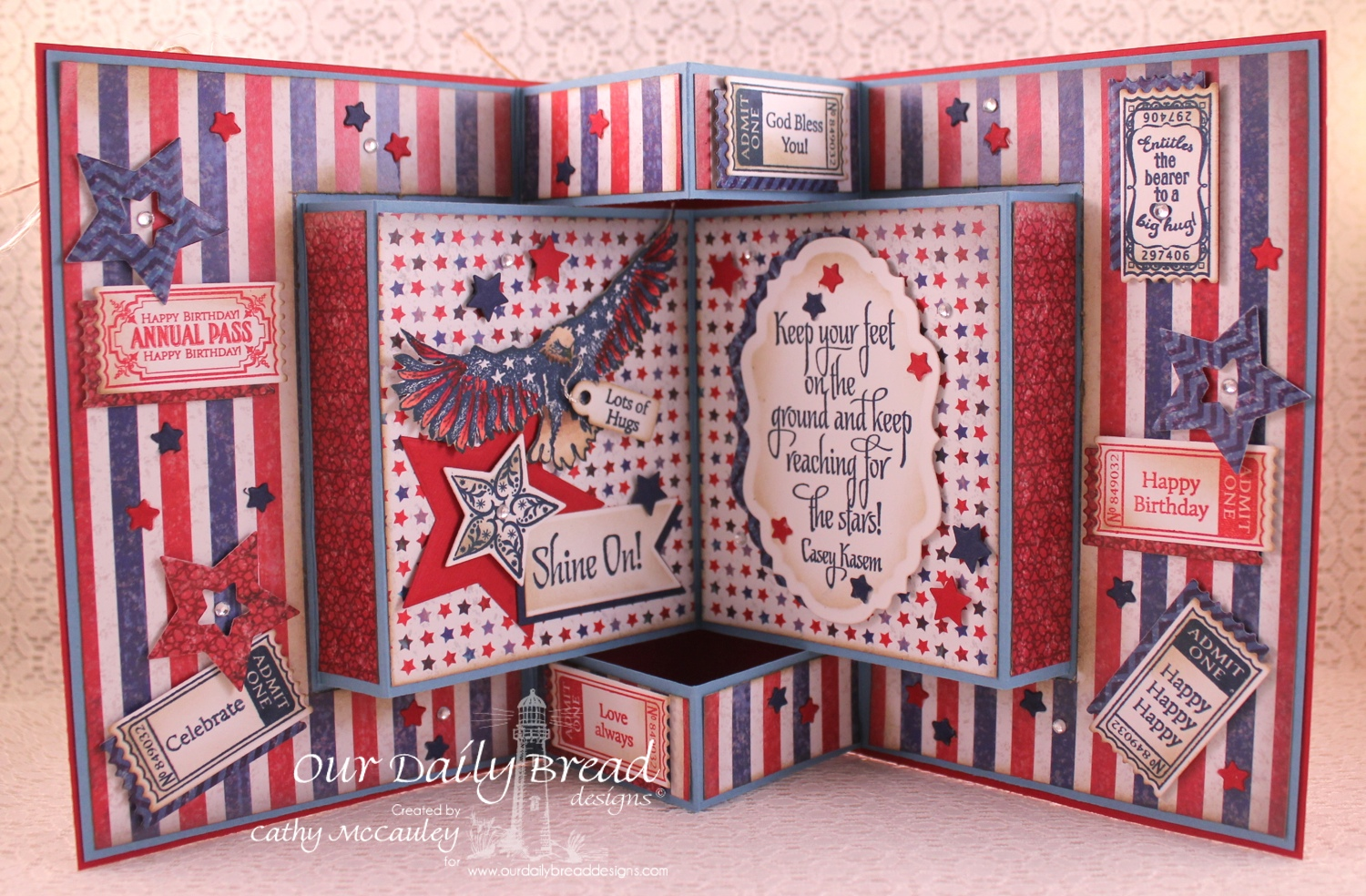 Stamps - Our Daily Bread Designs Shine On, Reach for the Stars, Some Gave All, Admit One, Admit Three, Mini Tag Sentiments, ODBD Patriotic Paper Collection, ODBD Custom Shining Stars Dies, ODBD Custom Pennants Die, ODBD Custom Pennant Row Die, ODBD Custom Mini Tags Dies